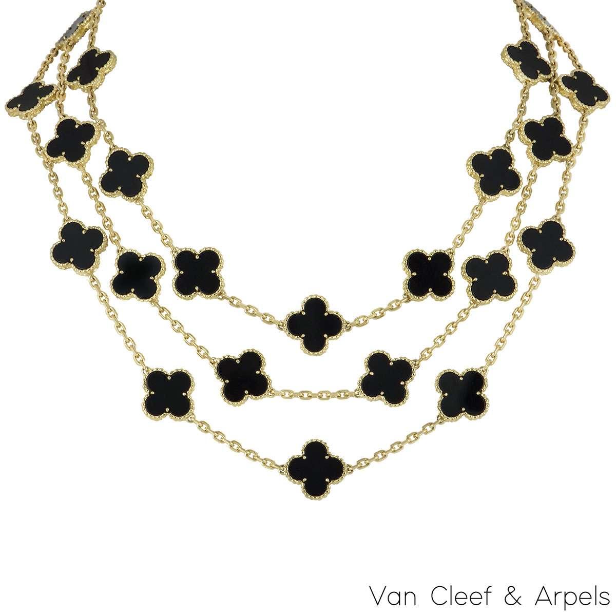 Van Cleef & Arpels Onyx Vintage Alhambra Necklace